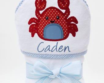 Baby Bath Towel, Hooded Bath Towel, Personalized Baby Towel, Monogrammed Towel, Crab Baby, Toddler Beach Towel, Baby Boy, Toddler Boy