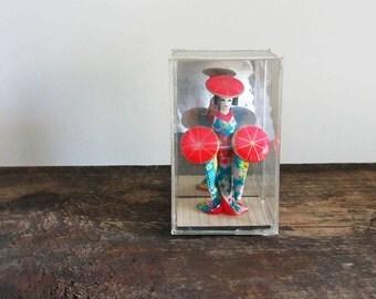 Vintage Japan Geisha Girl in Plastic Display Case