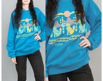 80's Blue Arizona Baggy Sweater Pastel Colors . Howl at the moon women's oversized sweater 1980s 90s 1990s Southwestern Phoenix Plus Size XL
