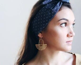 Polka Dot Chambray Wire Headband | Hair Wrap | Hair Accessories | Head Band | Hairband | Headband for Women | Turban | Chambray