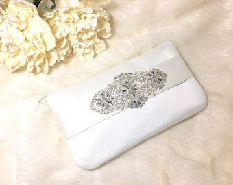 Ivory Wedding Bride clutch with bling! Perfect for a bridal shower gift for the bride who loves diamonds and rhinestones