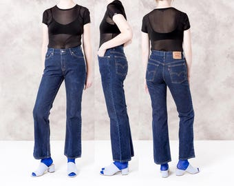 LEVIS 517 DARK WASH jeans vintage women Flares flared Levi Strauss 90s / size 10 / waist 32 / better Stay together