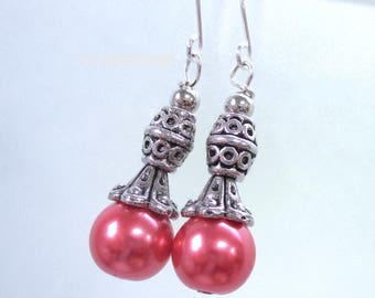Hot Pink Pearl Earrings, Antiqued Silver Beads and Caps, Fuchsia Glass Pearls, Renaissance Style Jewelry E488