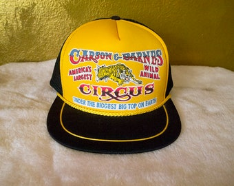 CARSON & BARNES // Vintage 80s Snapback Hat Circus Souvenir OSFM Mesh Trucker Hat Bengal Tiger Barnum and Bailey Big Top Kitschy