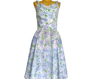 1950s Summer Sundress  / Fitted Bodice Dress with Rhinestone Straps / Full Skirt Dress / Fred Rothschild / Lightweight Floral Cotton Dress