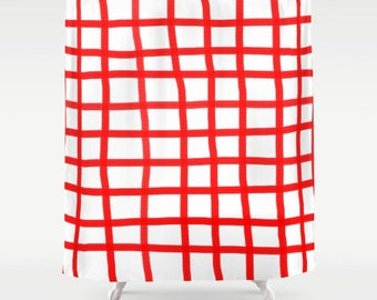 Shower Curtain - Gingham Red - Unique handmade asimetric