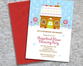 Gingerbread House Decorating Party Invitation - DIY Printable Personalized (Digital File)