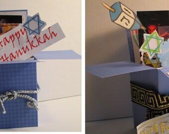 Handmade Hanukkah Pop Up Exploding Box Card--Just 1 left - Free shipping in USA