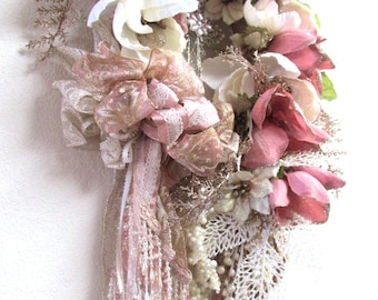 Victorian Beaded Christmas Wreath with Cross in Rose Gold, Dusty Rose, Ivory