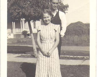 The Happy Couple, Young Woman with Her Young Man, Early 1950s Vintage Snapshot Found Photograph
