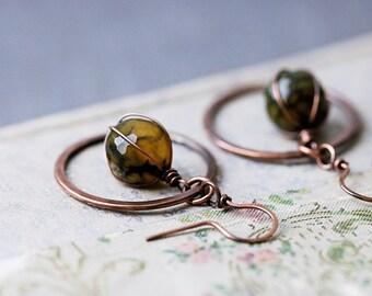 Rustic Copper Earrings   Olive Green Fire Agate Earrings   Copper Hoops   Bohemian Earrings   Boho Rustic Earrings   Gypsy Earrings