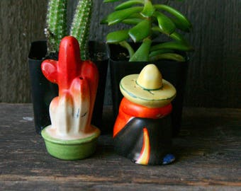 50s Salt and Pepper Shaker Cactus and Mexican Sombrero Porcelain Vintage From Nowvintage on Etsy
