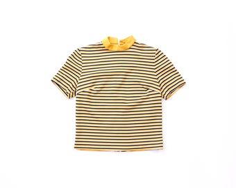 60s Mod Top Beatnik Striped Short Sleeve 1960s Shirt Retro Carnaby Street Blouse STEWARDESS Uniform Groovy MCM 70s Knit T-Shirt 1970s Small