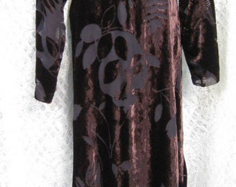 plus size 1x size 16 SHEER and SHINE LEAVES brown long dress, maxi dress gown in brilliant velour brown and sheer sleeves, formal dress