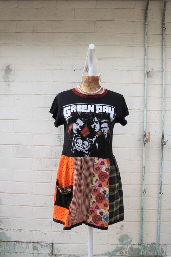 Medium Green Day Babydoll Dress/Folk Rock Dress/American punk Dress/Babydoll Dress/Upcycled Clothing/Short Dress/Billie Joe Armstrong Dress