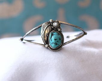 Turquoise Navajo Cuff Artisan Signed RS Turquoise Black Matrix Mother of Pearl Cactus Flower Leaf Native American Vintage Southwest Boho