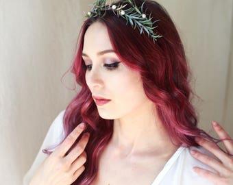 Rosemary and pearl crown, wedding hair wreath, leaf bridal headpiece, pearl tiara, rustic wedding crown, bridal headband by gardensofwhimsy