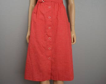70s Red A Line Skirt High Waisted Button Down Retro Skirt Knee Length 70s Clothing Epsteam