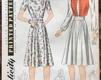 Uncut 1940's Simplicity Pattern # 3857 Misses' Dress & Bolero Jacket or Vest - Copyright 1941 - Size 16, Bust 34