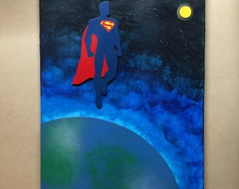 Superman Flying Over the Earth, Melted Crayon Art Painting