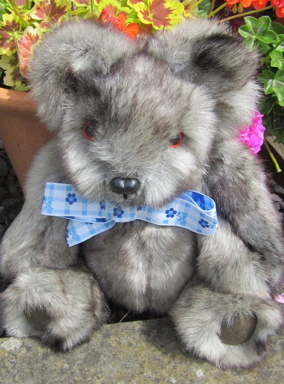 Silver Grey Teddy Bear Faux Fur Bear Toy Furry Animal Toy Companion Keepsake Toy Collectible Toy Cuddly Toy Bear Toy Bear for All Occasions