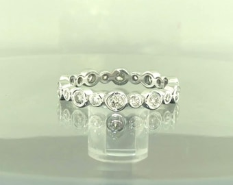 0.55 Carat Diamond Eternity Band, Wedding Ring, Bezel Set Anniversary Ring, Stackable Band 14K White Gold handmade