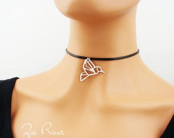 Silver hummingbird choker. Silver choker necklace, minimal Origami bird choker. Elegant bird choker necklace. Black choker necklace.