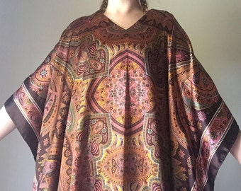 Psychedelic Caftan | symmetrical nouveau print brown gold orange radial baroque inspired v neck womens cover all maxi dress one size OSFM OS