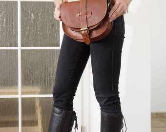 Brown Leather Saddle Bag Messenger Cross-body Purse Goldmann Size S