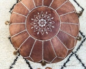 SUMMER 30 Off  Tan Brown Moroccan Leather Pouf with Tassels  Pompoms  for Home gifts wedding gifts