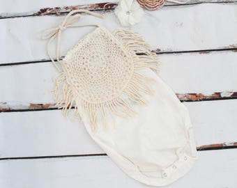 Boho Chic Ivory Cream Lace Romper & Headband.  Newborn Baby Girl Coming Home Outfit, 1st Birthday Outfit, Holiday Set, Mommy Me, Linen like