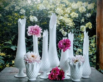 Fenton Swung Vase Collection / Vintage Mid-Century Modern Vase Collection / Wedding Vase Centerpieces / Fenton Hobnail Milk Glass