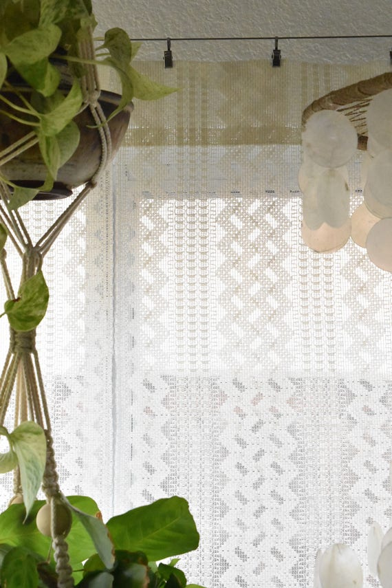 long white lace geometric diamond striped window curtain panel