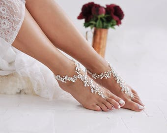 Barefoot Sandals, Anklet, Beach Sandals, Beach Wedding, Bridal Swarovski Shoes, Foot Jewelry, Ankle Bracelet, Bridesmaid Gift /FIFI/