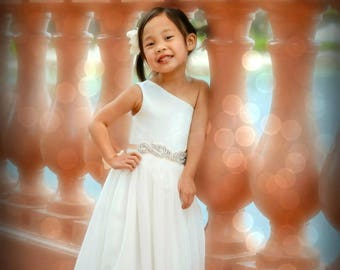 Ivory Flower girl, FREE SHIPPING, One Shoulder Dress, Rhinestone Sash, The Danielle Dress, Custom made in the USA by Mia Loren Boutique
