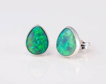 Green Opal Studs, Sterling Silver Gemstone Bezel Earrings, Opal Post Earrings, October Birthstone Earrings, Gift for Friend, Big Little Gift