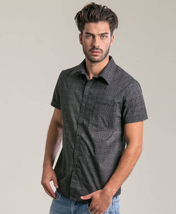 Short Sleeved Buttoned Shirt For Men Arabesque Print Button Down Button Up Shirt Alternative Clothing Unique Mens Shirt HaDKw3O2