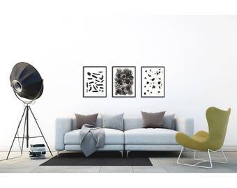 Minimalist Art Set. Abstract art prints. Minimalist Wall art. Modern home decor.  Pen and ink drawing print set. Minimalist painting set