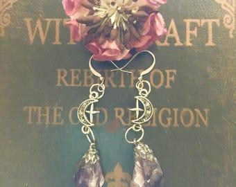 crescent moon earrings, wood moons, moon earrings, amethyst earrings, healing crystals