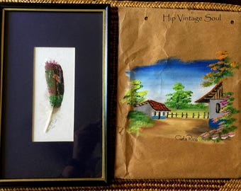 Costa Rica 1993 Hand Painted Feather Souvenir, Costa Rica Art, Hand Painted Village Scene Costa Rica, Eco Friendly Art, Ethnic Art