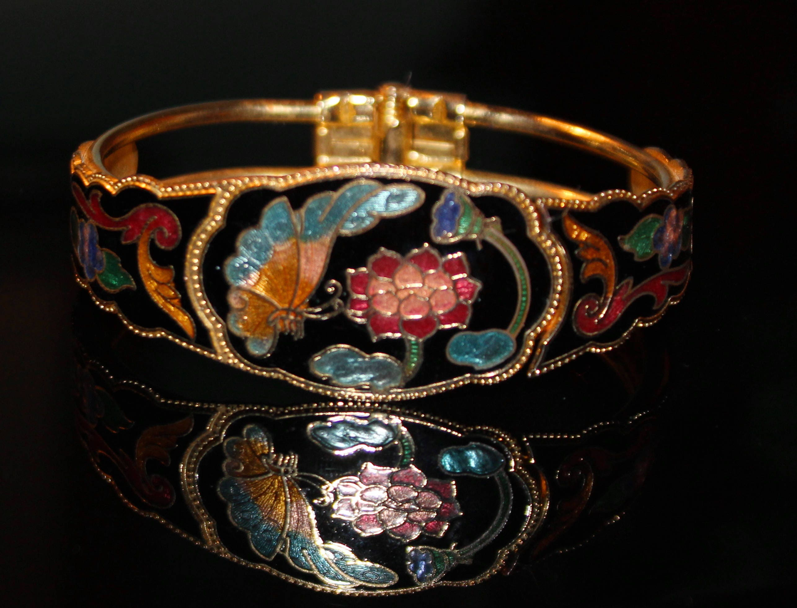 flower molded listing in il fullxfull celluloid japan clamper made bangle bracelet