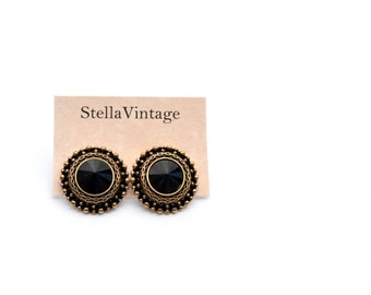 Egypt black and gold vintage earrings