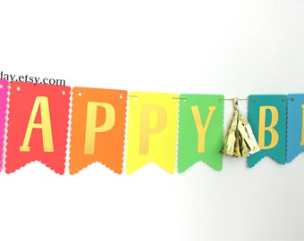 Bright Rainbow Happy Birthday Banner-birthday banner-rainbow and gold birthday banner-rainbow birthday party, photo backdrop-gold  banner