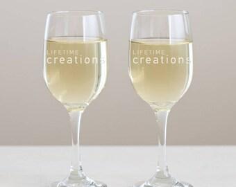 50 Custom Engraved Wine Glasses with Logo: Promotional Wine Glass, Wine Event, Branded Wine Glass, Wine Giveaway, Custom Wine Glass