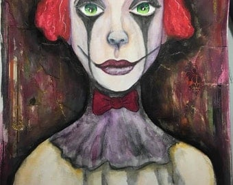 ORIGINAL SMALL 7x10 inch Halloween Sad Clown Painting on paper // clown, circus, red, collage
