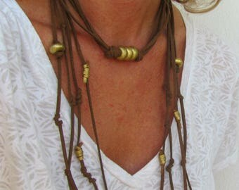 Leather Handmade Jewelry, Valentines Day Necklace, Gold Choker, Boho Wrap, Suede Festive Necklace,  Jewelry Gift Ideas for Mom, For Sister