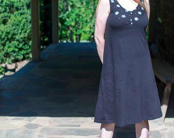 Sample Sale, Wildflower Sundress, Black Organic Cotton Jersey Screen Printed Summer Dress