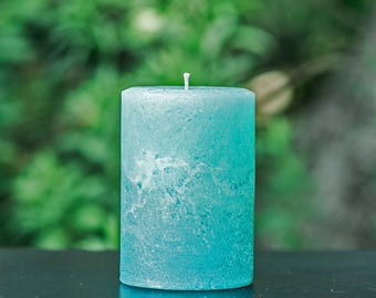 "Light Teal Rustic Unscented 4"" Wide Pillar Candle - Choose 4"", 6"" or 9"" Tall"