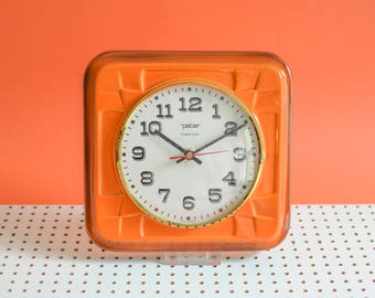 Orange ceramic clock, 70s wall clock, 70s kitchen clock, Peter clock