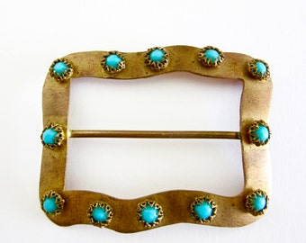 Brass Belt Buckle with Turquoise Beads